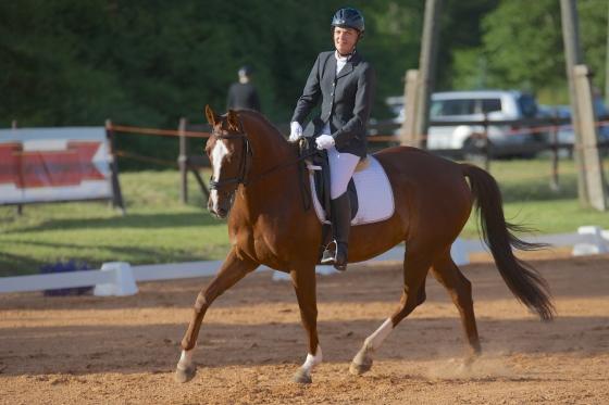 Dina Endziņa ar zirgu Boulahrouz